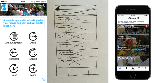 Existing app (left), later sketch (center), Photoshop (right)