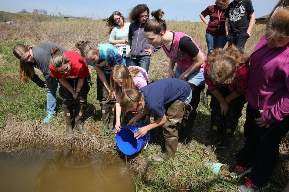 Students released the young fish into Wallen's Creek