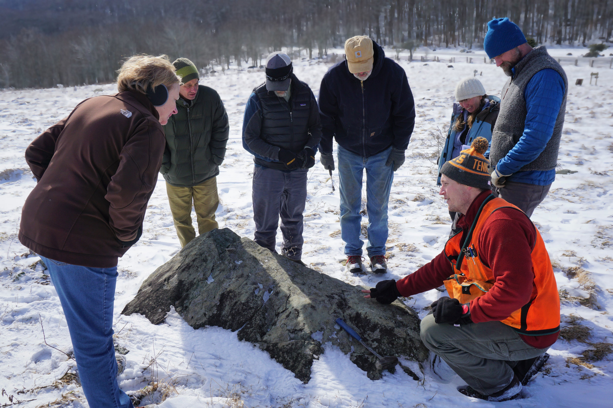 Geologist Dr. Arthur Merschat describes the greenstone at Elk Garden.