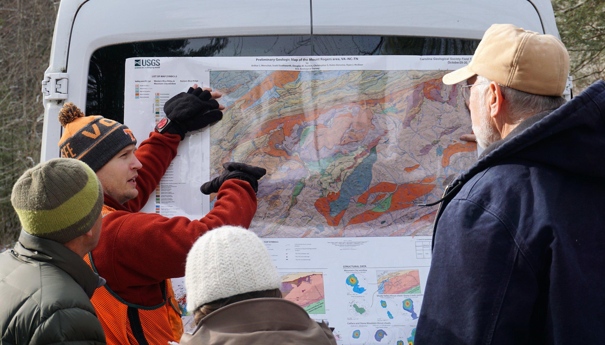 Arthur Merschat explaining our geological history on the USGS Geologic Map of Mt. Rogers Area (Merschat et. al., 2016).