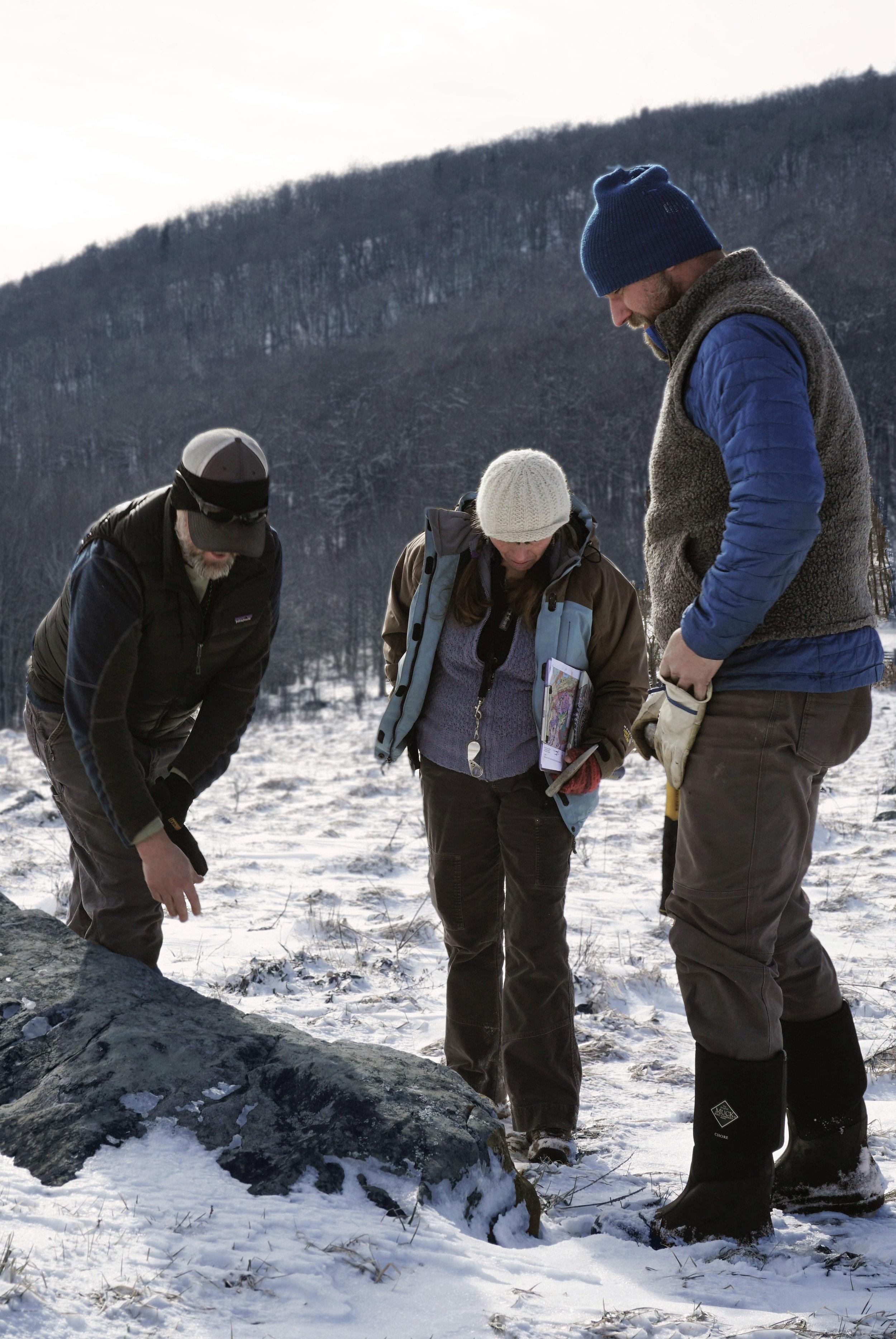 Jay, Elaine, and Aaron observing greenstone at Elk Garden.