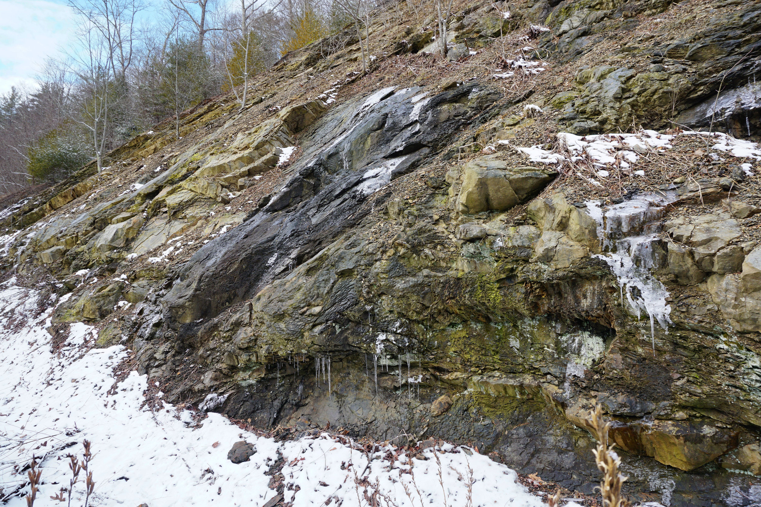 Geological evidence of the underwater landslide within the Hampton Formation.