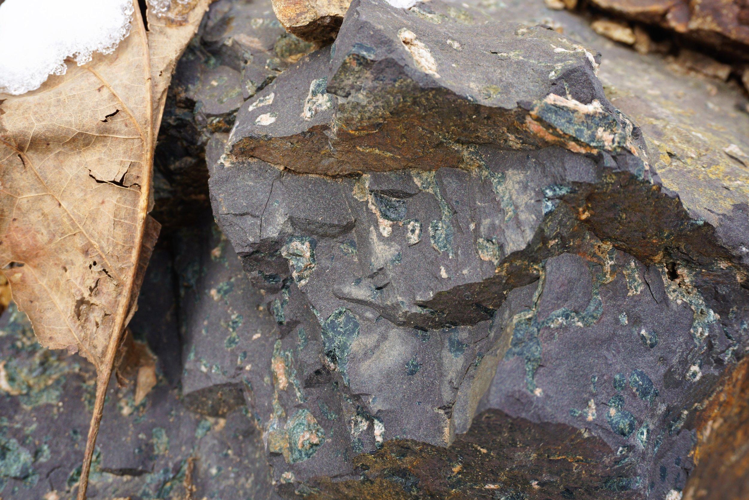 540 Ma basalt with celadonite amygdules.
