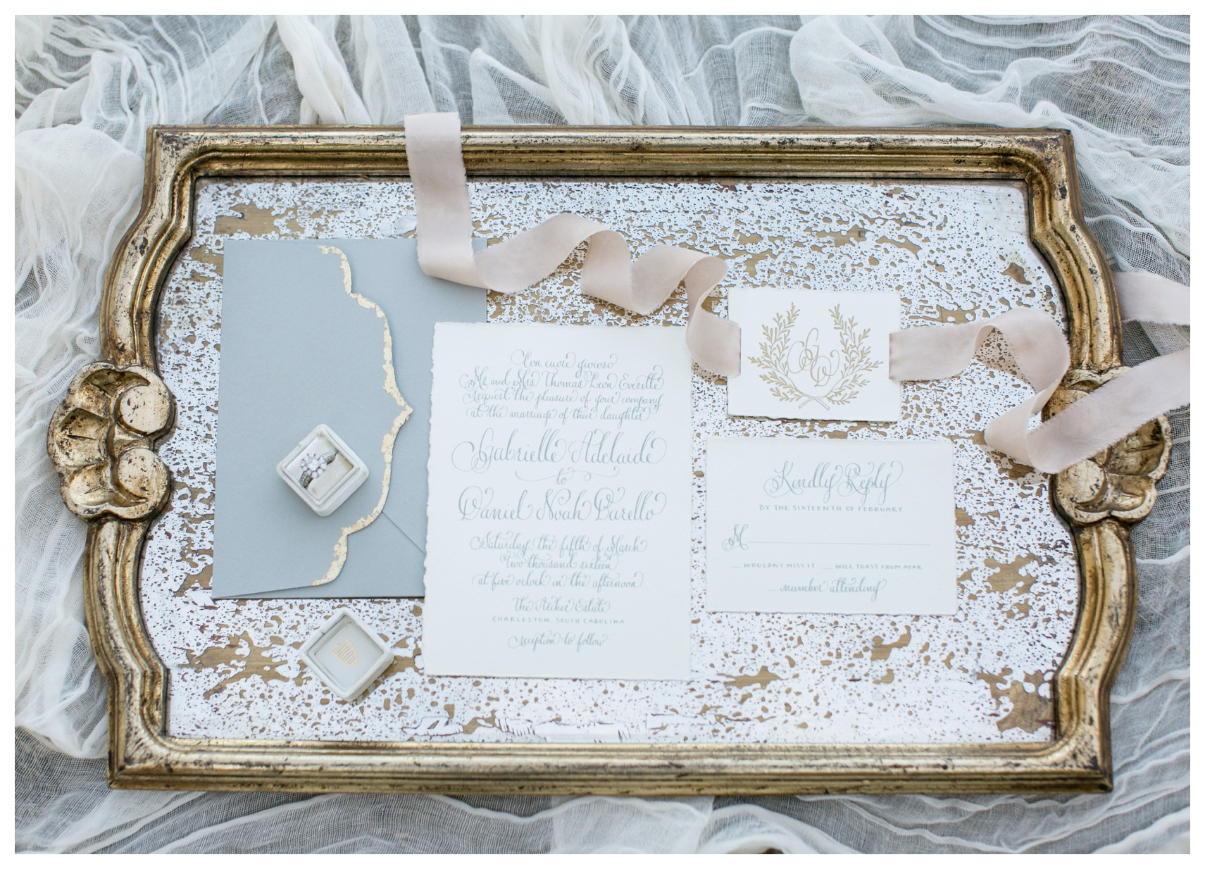 """Featured above:  """"Pale Rose Dust"""" from Stella Wolfe  and  """"The Margaery"""" from Mrs. Box  / Stlying by Kara Anne and Photography by  Colorbox Photographers"""