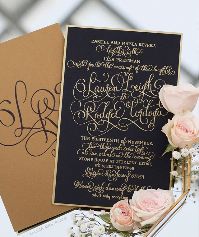 Congratulations to Lauren and Rodger! I loved creating their unique shiny gold foil invitation suite full of whimsical calligraphy and hand lettering. The large black foil monogram on antique gold paper was the perfect final touch to finalize this luxe suite. Excited to share more.. 🖋 #karaanne_paper