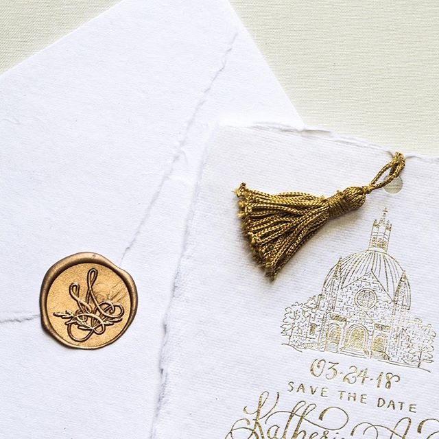 Sneak peek of the most beautiful save the date bookmark for an upcoming spring wedding with @marymebrides ! There is just something so special about this cotton rag paper graced with gold foil details. #prettydetails #karaanne_paper