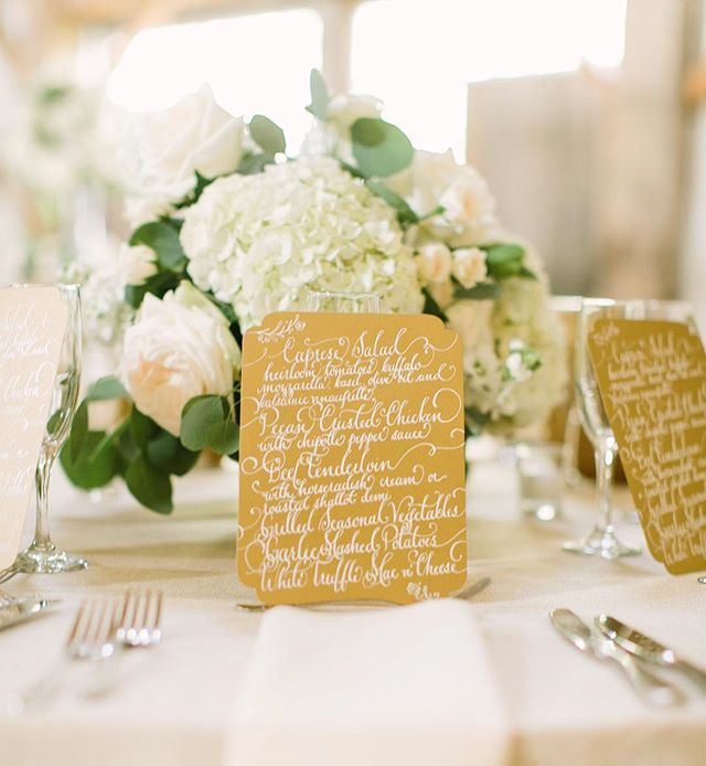 These full calligraphy designed menus were such an exciting piece of art for Katherine and Cory's guests! #karaanne_paper @mustardseedphotography @maxitflowerdesign @pompcircumstance @chandeliergrove