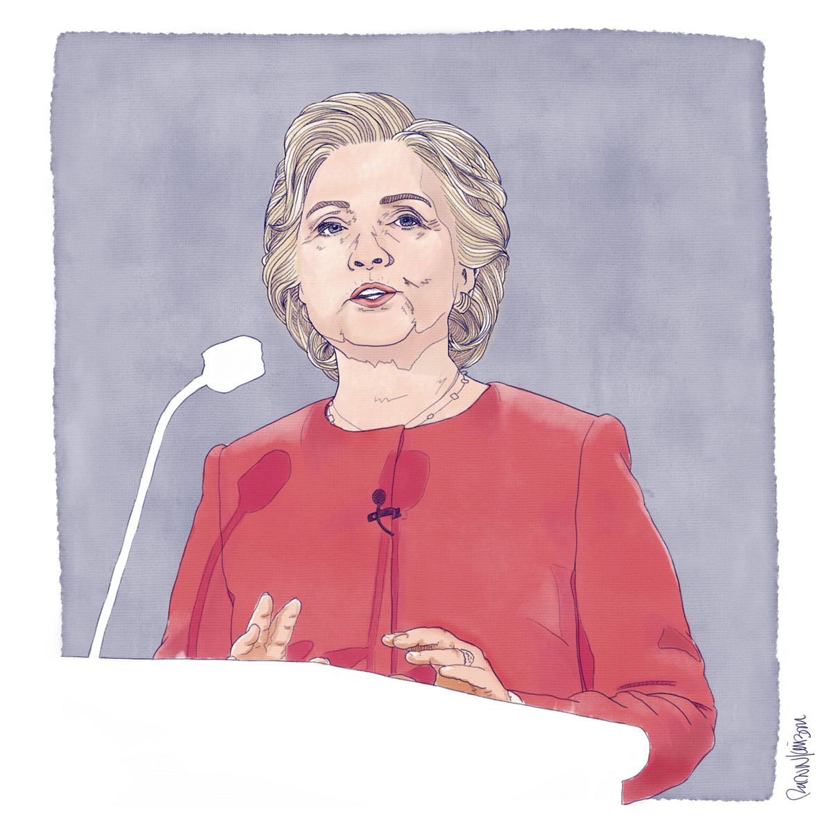 Hillary, Debate #1    — Self-initiated illustration   of Hillary Clinton during the first 2016 Presidential Debate