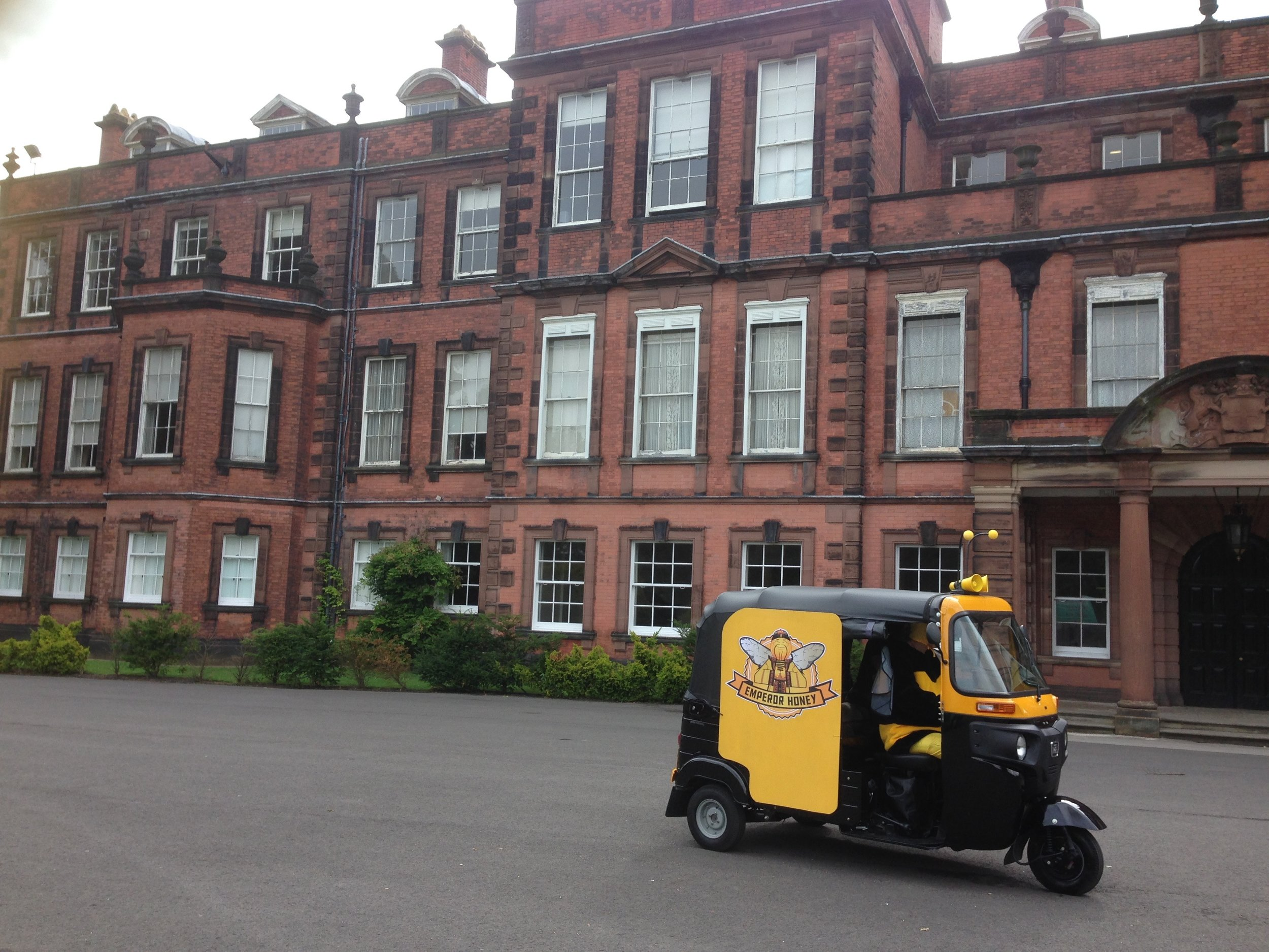 The tuktuk on location at Croxteth Hall, Liverpool