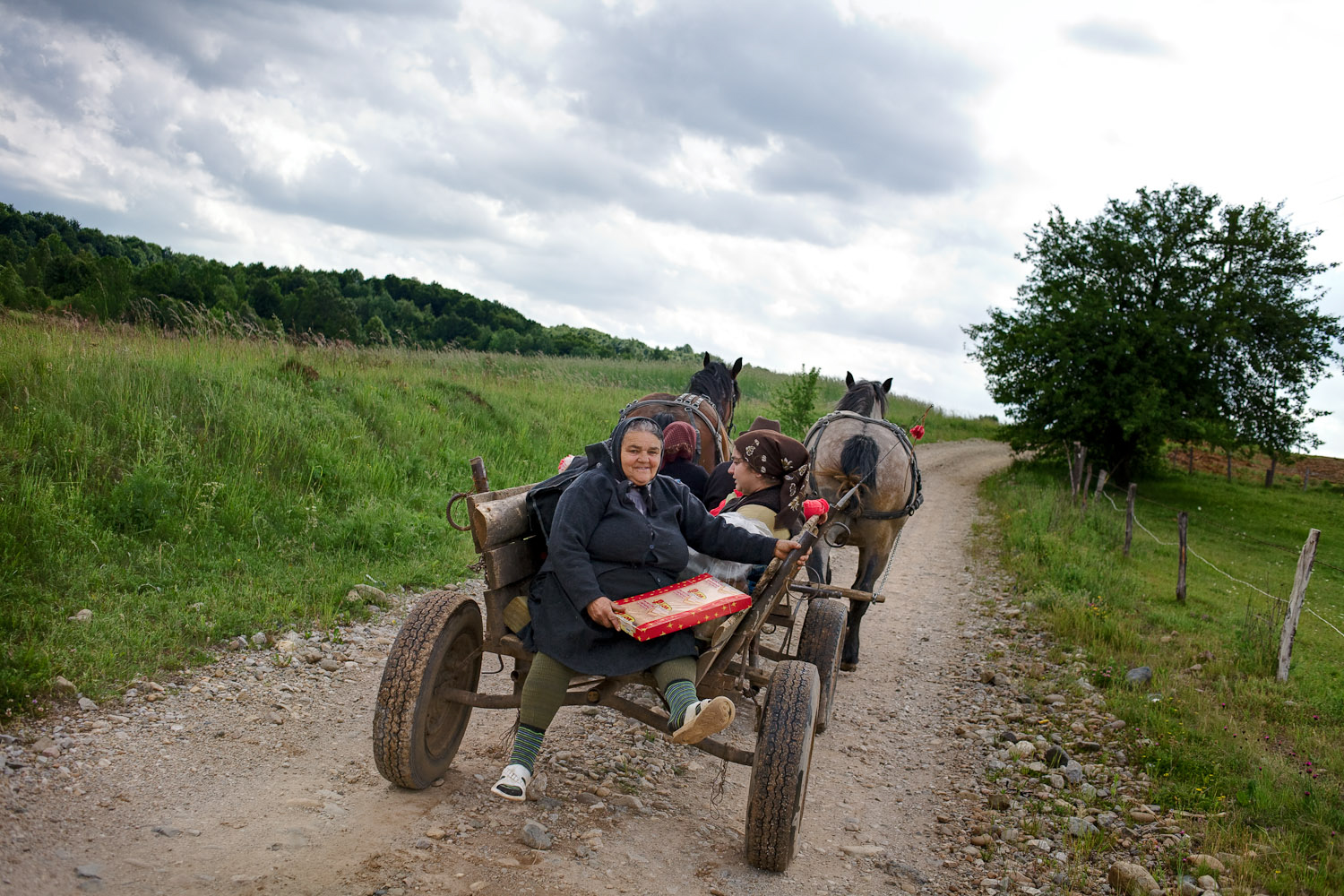 Zece-Hotare village, Romania.A family comes by horse-drawn cart to buy provisions on one of the two days in the week when bread is delivered. Horse-drawn carts are still a very common form of transport.