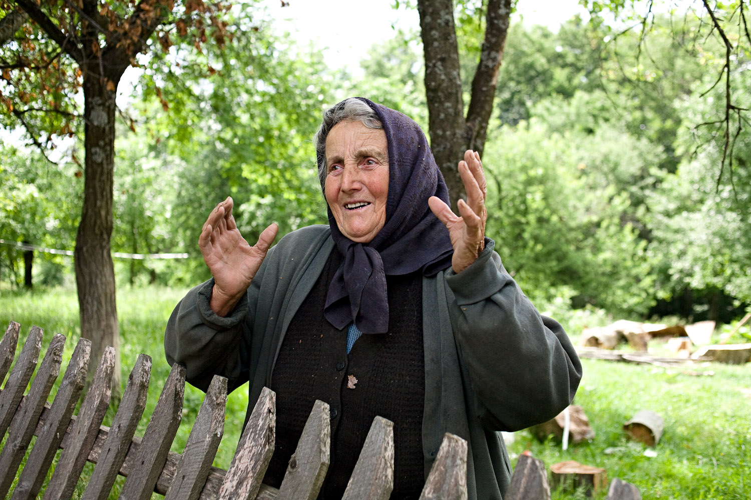 Zece-Hotare village, Romania.Maria Tap, 80 years old, says that young people don't want to look after animals anymore. She wakes at five o'clock to work in her garden, although this year a late frost has ruied much of the crops. Otherwise she knits or looks after her cow.