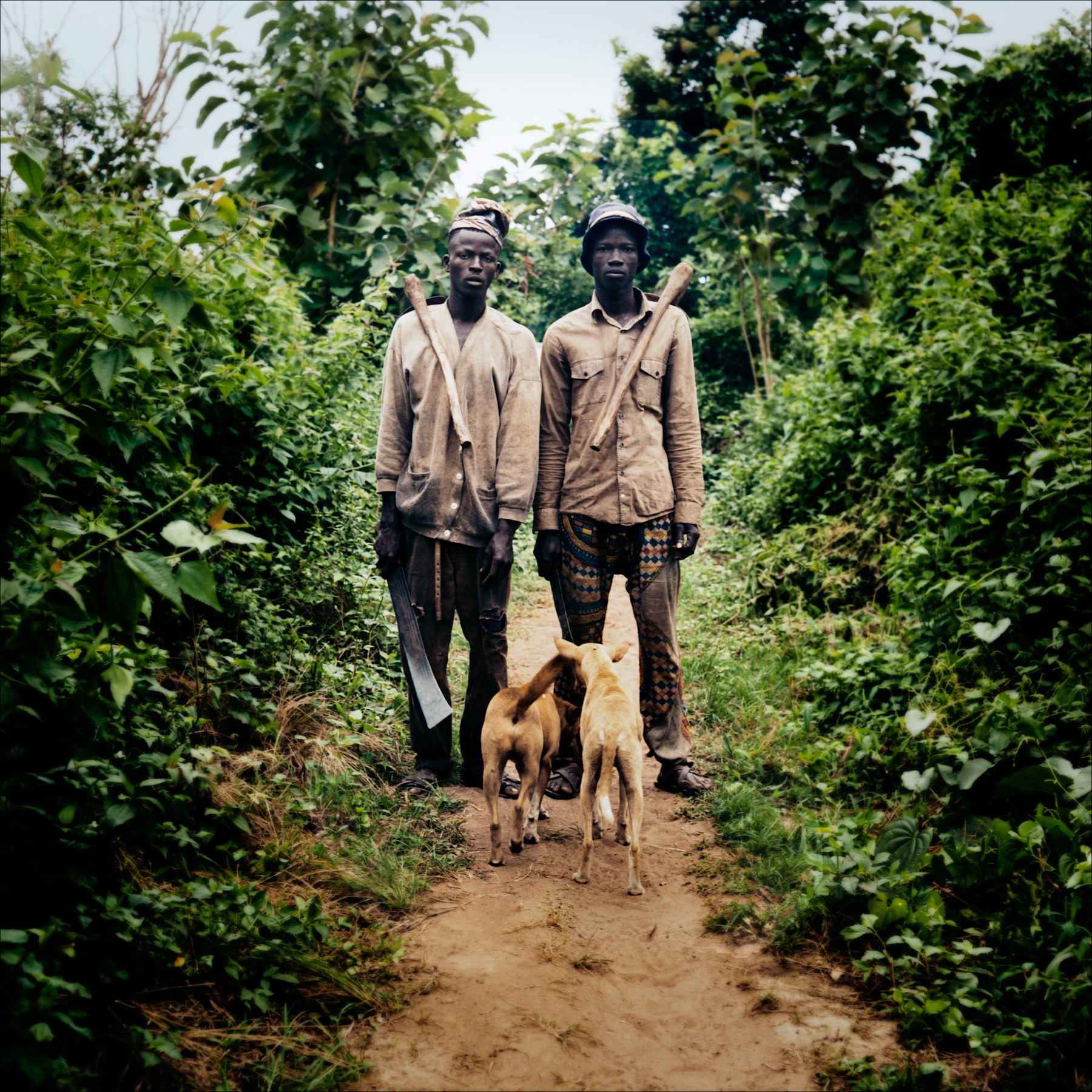 Cultivators with their dogs on their way to work, Sanga village.