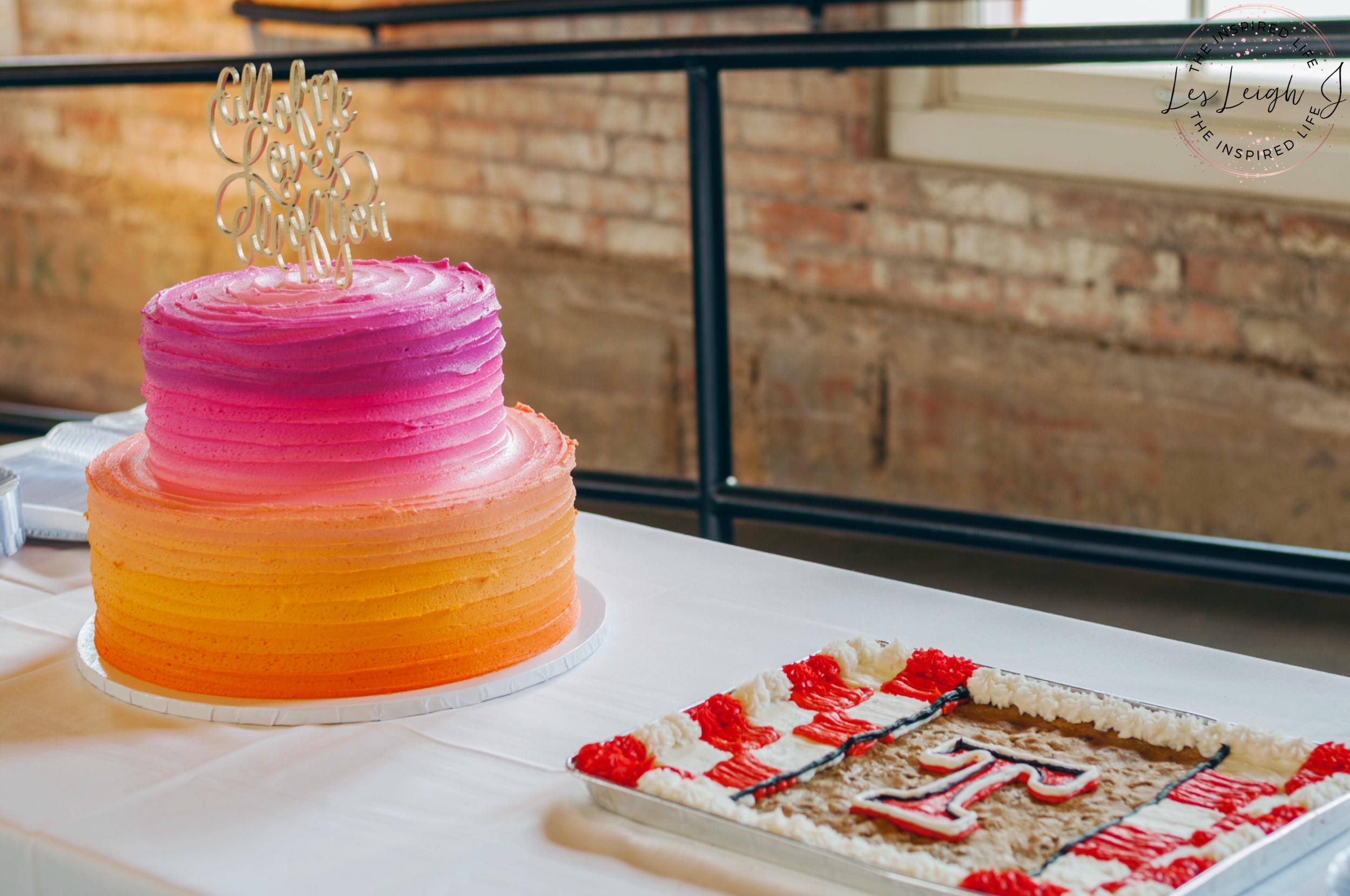 Orange & Fuchsia Ombre Wedding Cake