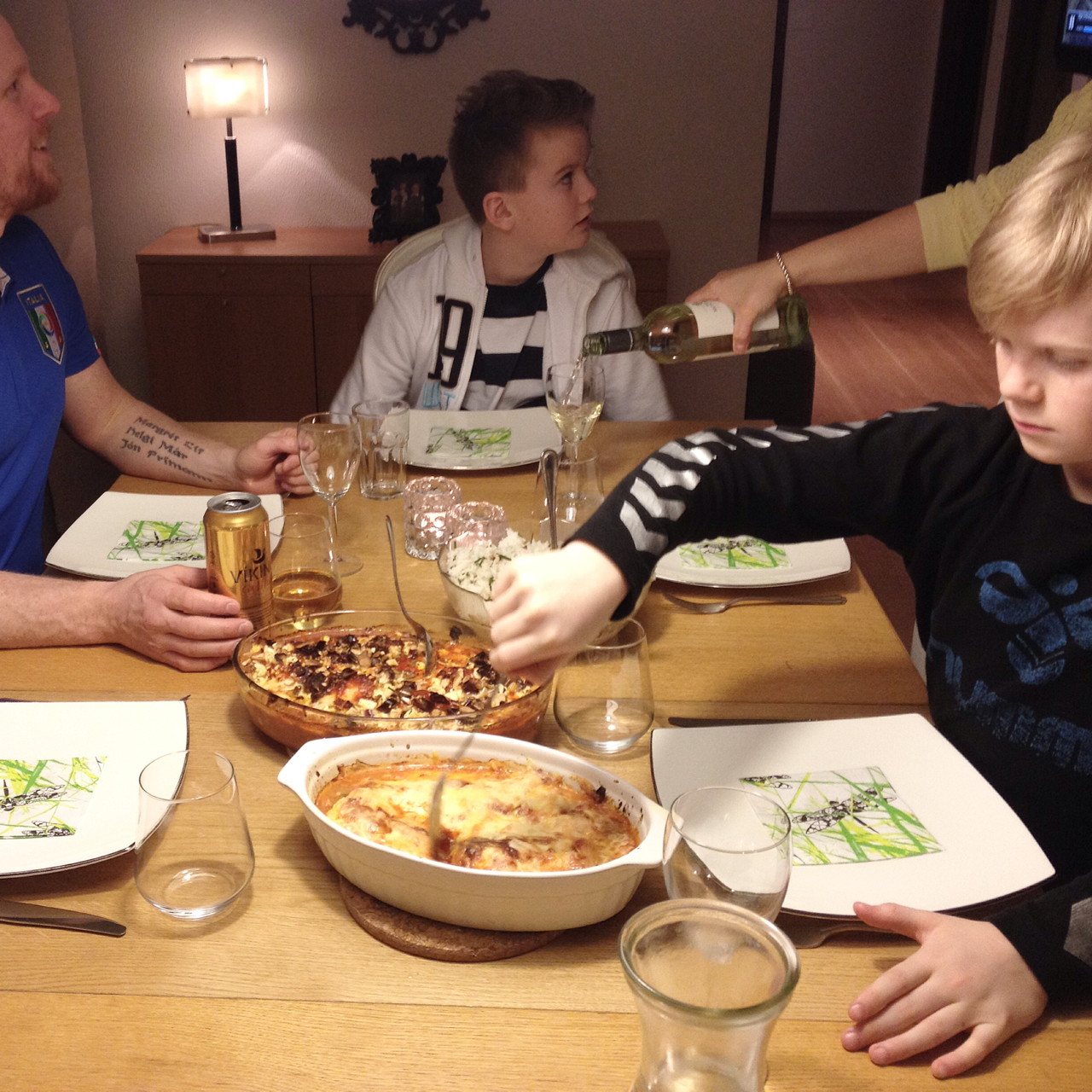 """Monday night is fish night. Kjartan just made it home from the Manaberg OF-42, the 42-year-old fishing trawler he spends half his year on, """"one [month] on, one off""""; now in 18-metre swells off the Norwegian coast. He's brought home his personal cut of the cod, prime slabs of þorskur hnakkur - the saddle of the fish - the fleshiest part behind the head. Tonight, baked with dates, tomato, cashew and bechamel. On his left hand, a tattoo of his children's names; in his right, a can of Viking Gold."""