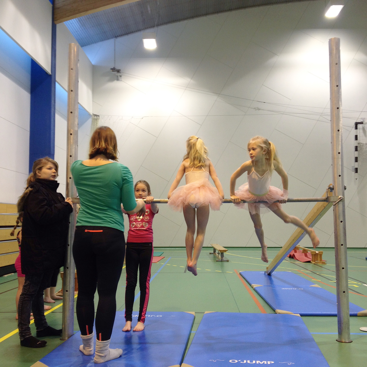 Saturday morning gymnastics class is a packed affair. Iceland's success in recent years at the European Championships has raised the profile of the sport amongst tutu-wearing young girls, and there's a whiff of haughtiness in the noses of the ladies with the straightest cartwheels.