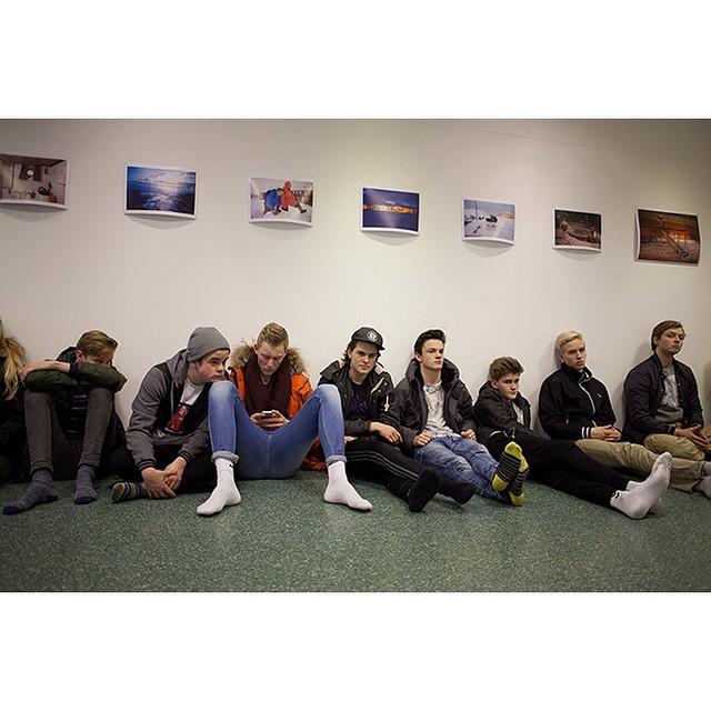 "66°04'21.6""N 18°39'10.9""W, 03/02/2015, 1452 Menntaskólinn á Tröllaskaga English class, the observance of short days exhibition, Listhús í Fjallabyggð gallery, Ólafsfjörður, Iceland #art #documentary #gallery #learning #education #school #smalltown #Iceland"