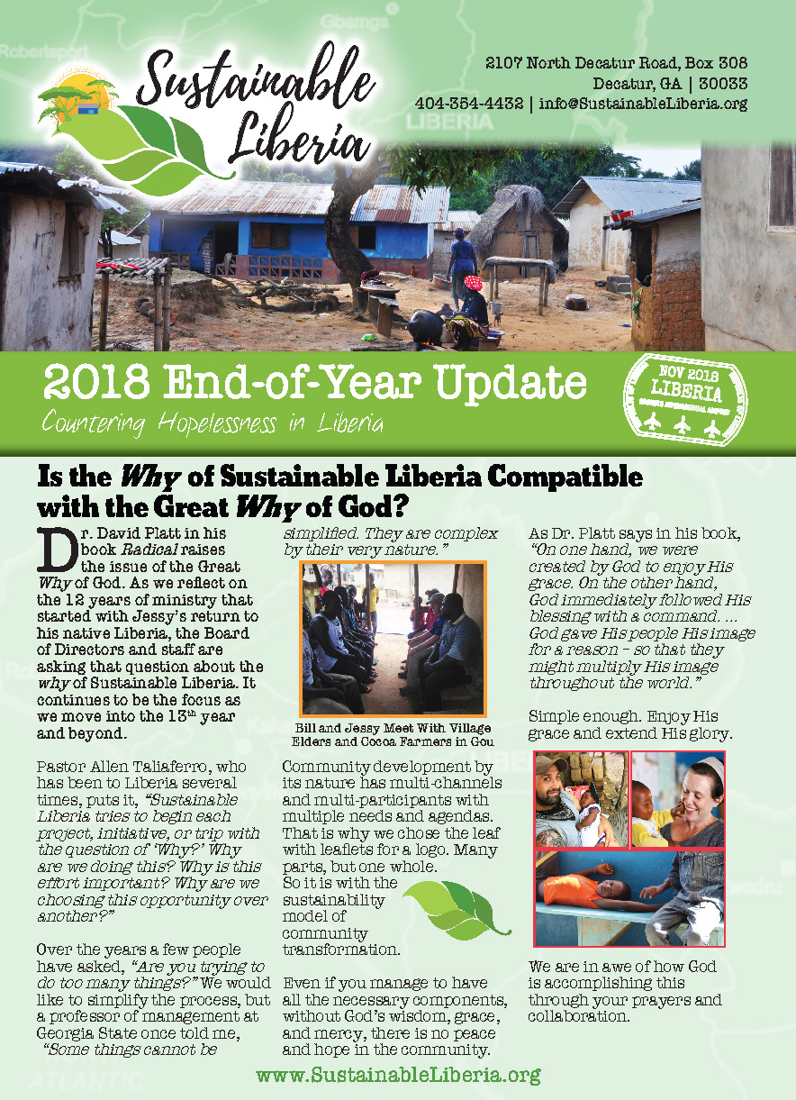 Click the image to download the 2018 Sustainable Liberia Fall/End of Year Newsletter. -