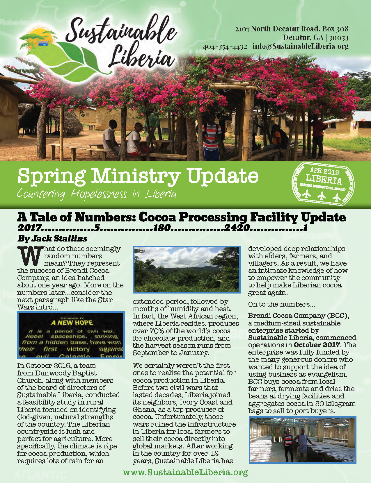 Click the image to download the 2019 Sustainable Liberia Spring Newsletter. -