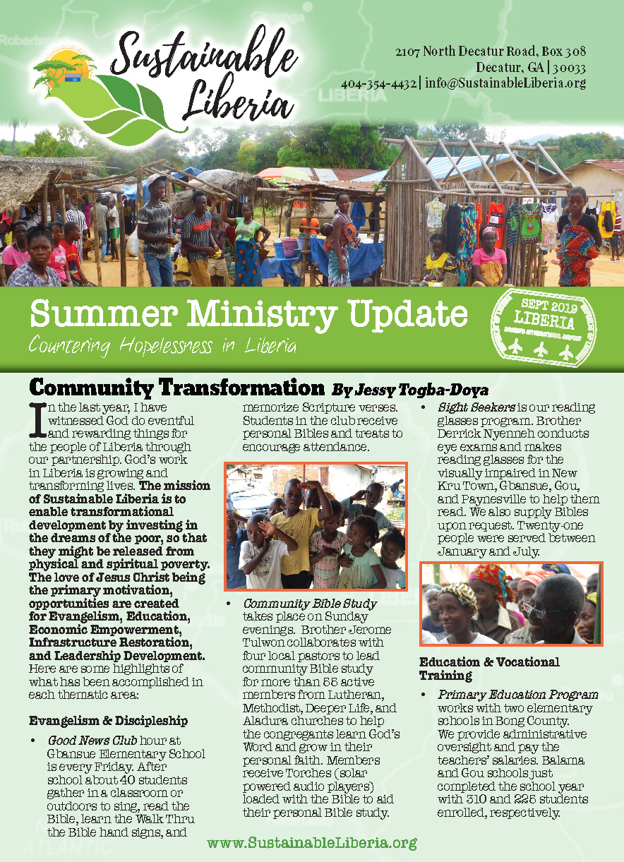 Click the image to download the 2019 Sustainable Liberia Summer Newsletter. -