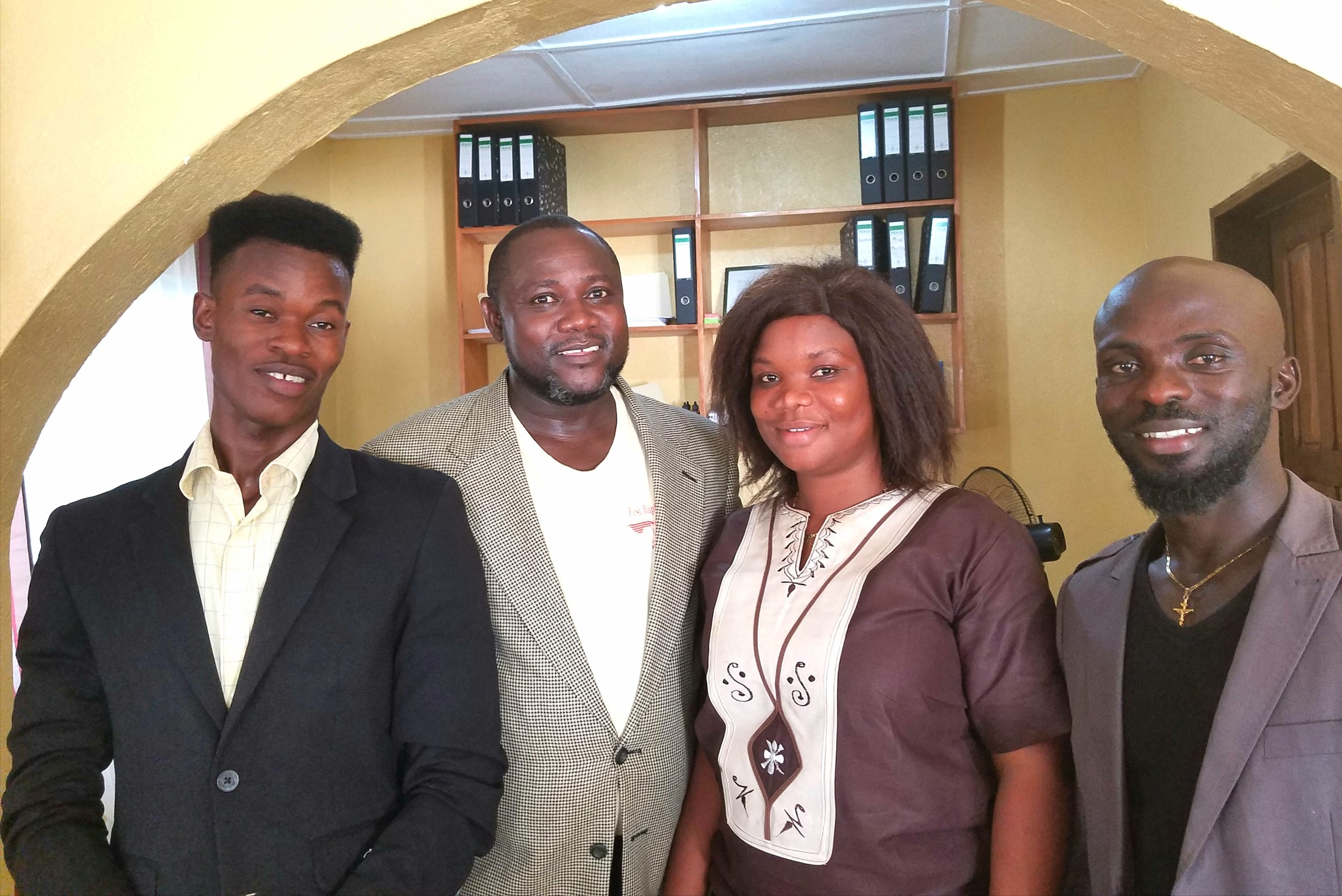Jessy with staff members in Liberia, William Zeon, (Jessy), Monica Moneh, and Derrick Nyenneh.