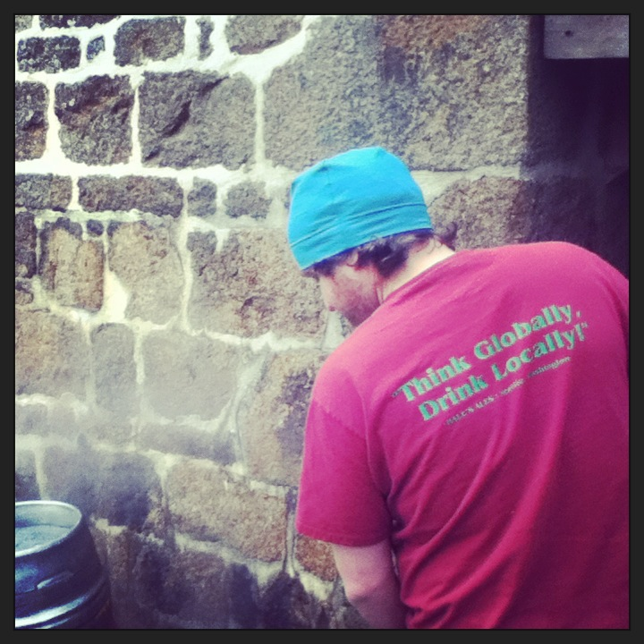 Cleaning casks at Le Brewery