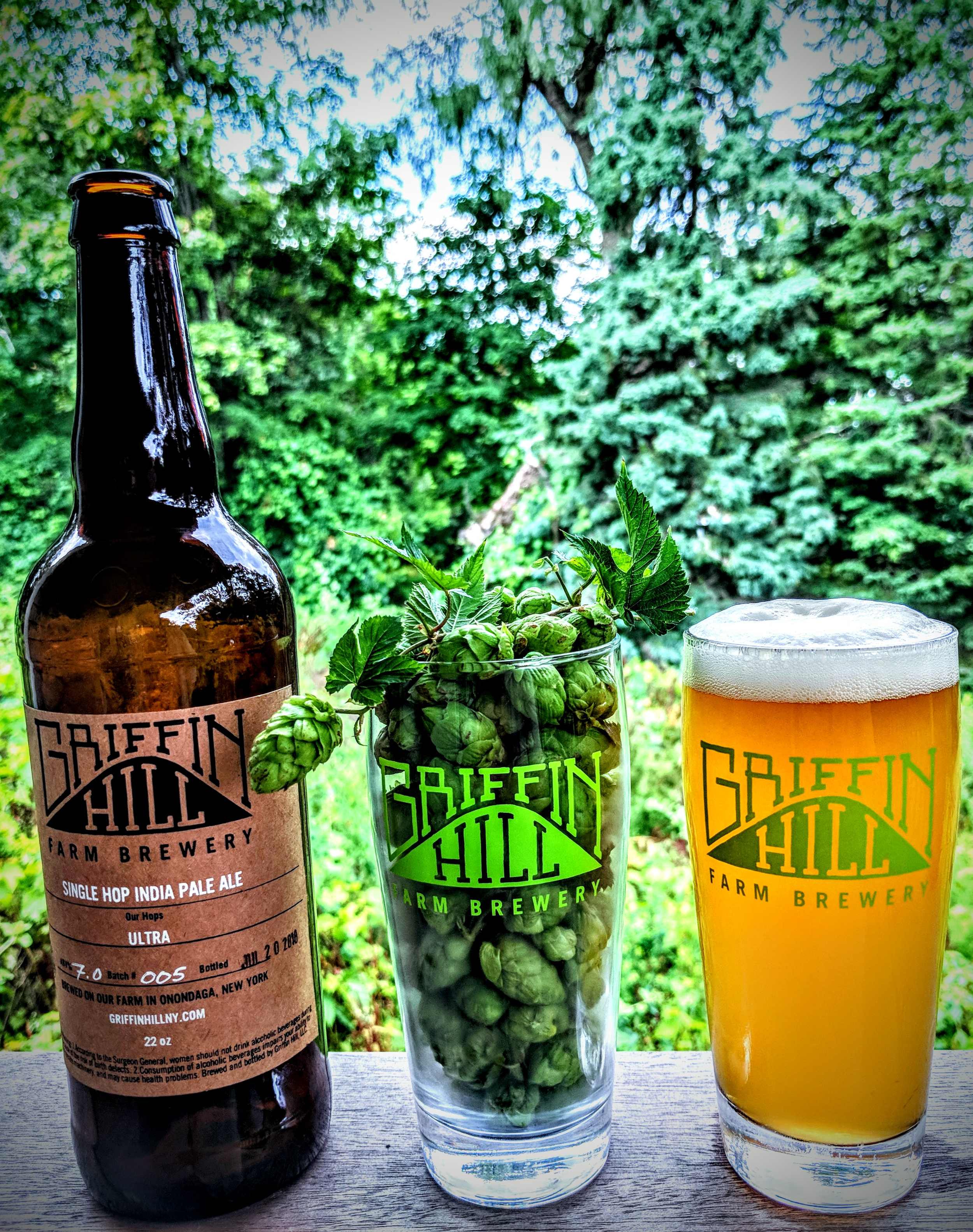 Our Beer  - Griffin Hill's line-up evolves with the seasons and our current inspirations. We always feature 100% Griffin Hill hops in our small-batch brews. From our farm... hops, honey, maple sap and syrup. From our partner farms and malt houses... grains and malt.For our current offerings in Shed C at the Regional Market each Saturday, check out our Friday posts on Facebook. Recurring beers include New York Gold, Small Farmhouse, and Foreign Extra Stout. We love highlighting our hop varieties in our experimental Single Hop IPA series.