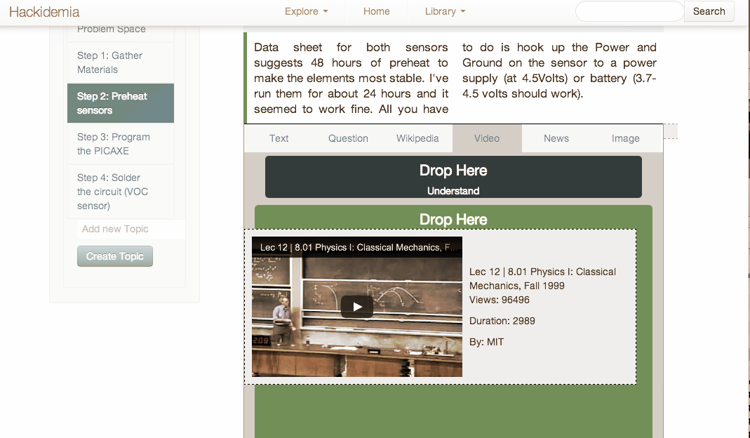 Makehub prototype is a platform to documentproject steps and add open education resources to each step.