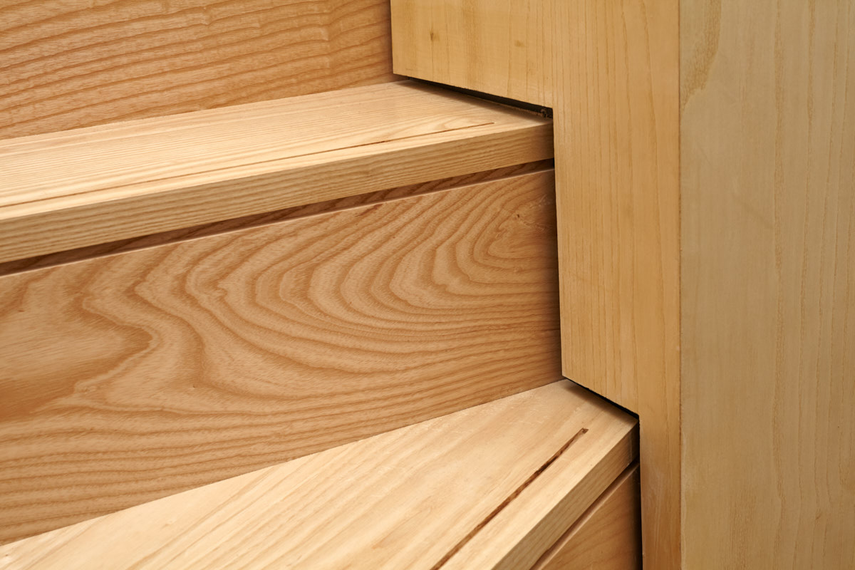 Solid Ash Staircase with shadow gap and rebate detailing | for further information see  Sustainable House, Norton