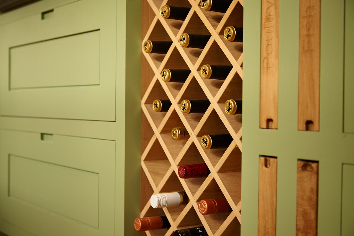 Bespoke Tulipwood carcassing lined with Oak veneer and customised Oak chopping boards and wine rack | for further information see  Listed Building Refurbishment, Wickham Market