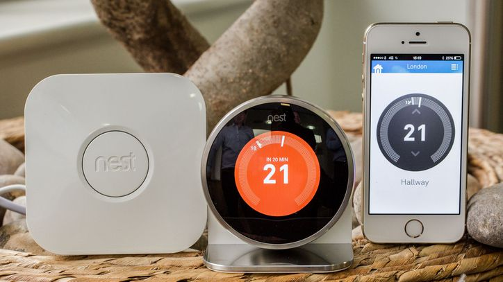 The Nest Thermostat, with receiver and App on portable smart device