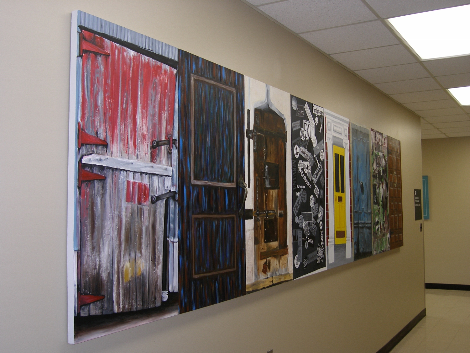Admissions Office Mural, University of MN, Morris, MN, 2006 (Mine is the barn door on the far left)