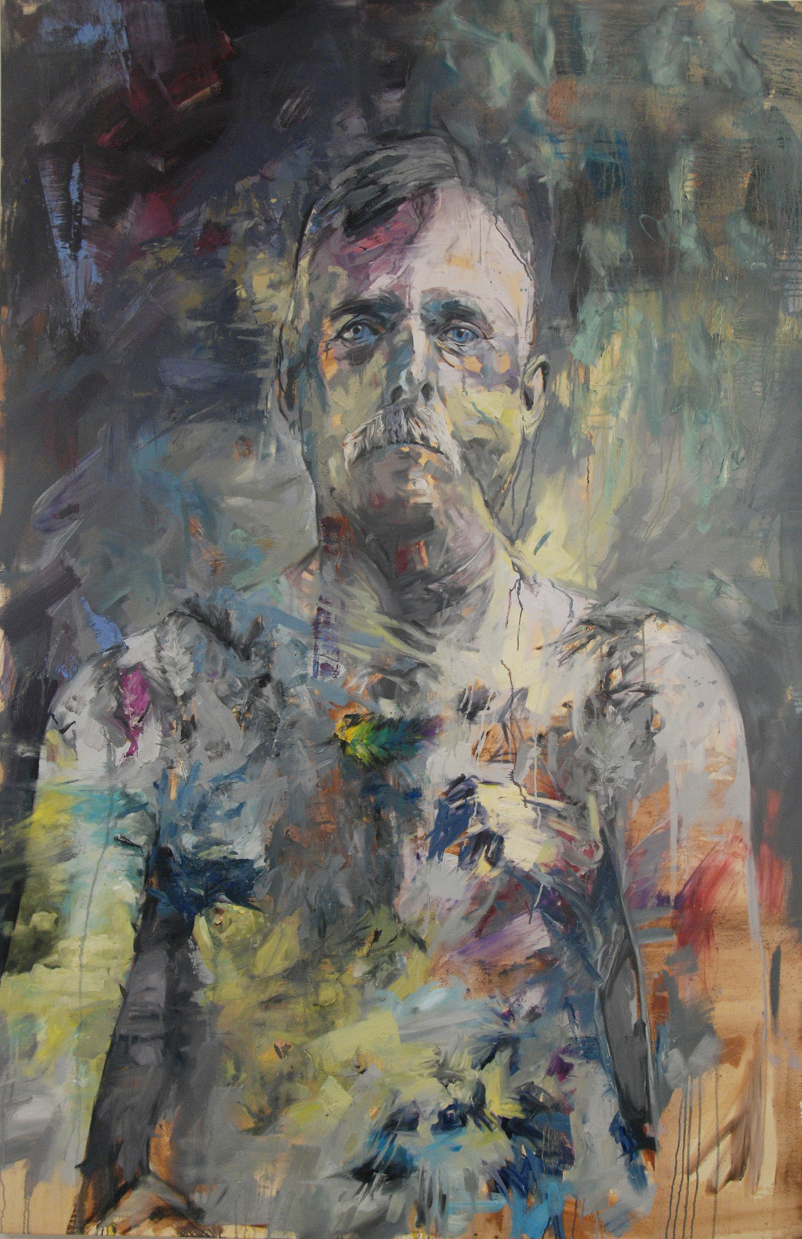 Untitle, Oil, Tar and Feathers, 210cm x140cm
