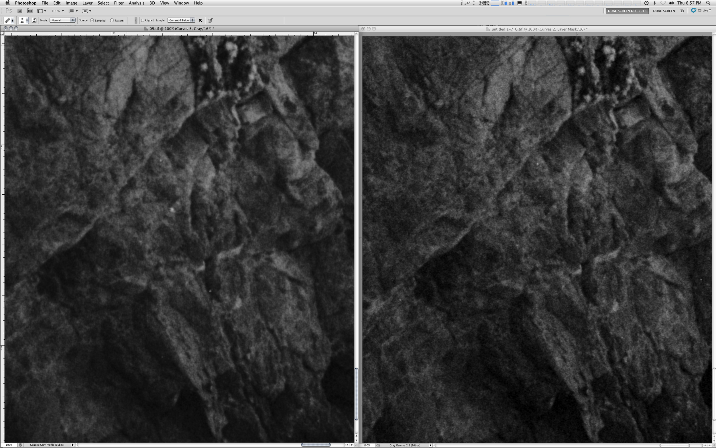Comparison of a negative scanned with an Epson 750 (wet-mounted) and a Screen 1045AI Drum Scanner at 4800 SPI