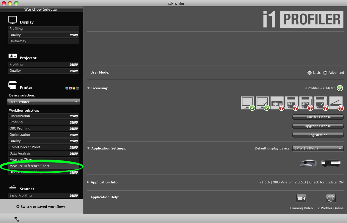 i1 Profiler Measure Reference Chart