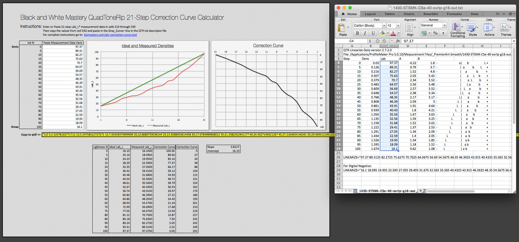 Measurement file used to create Correction Curve and for the Standard QTR Linearization Comparison for the profile with an overlap of 40 and a Gray Gamma setting of 1.6