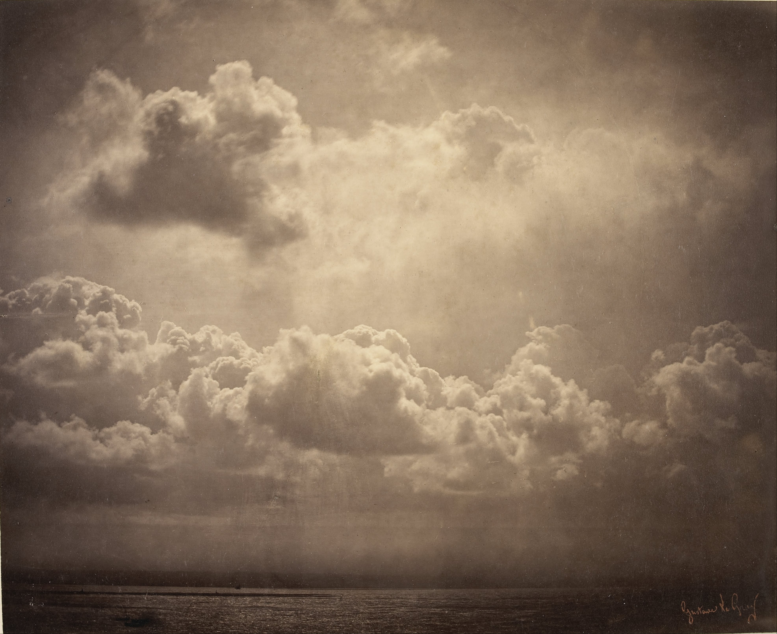 Gustave le Gray -  Seascape, study of clouds   Between 1856 and 1857  -  Albumen print from a collodion glass negative  -  H. 32; W. 39 cm
