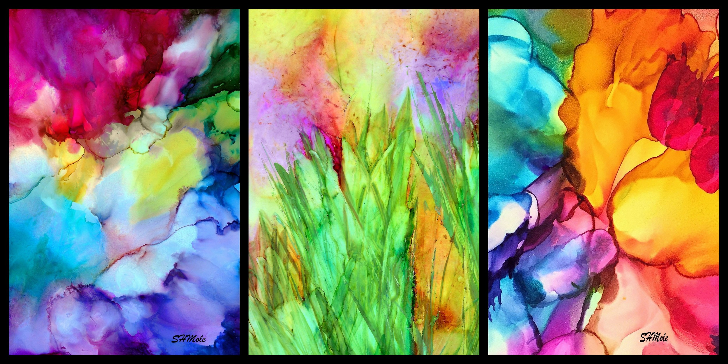 Details from Alcohol Inks images on Yupo paper by SUZ!