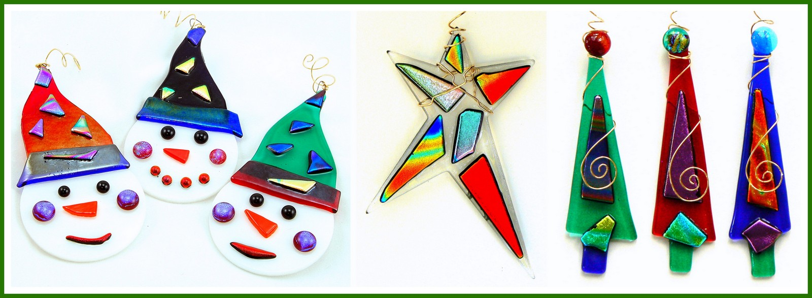 FROSTY, DANCING STAR and DICHROIC CHRISTMAS TREE Ornaments