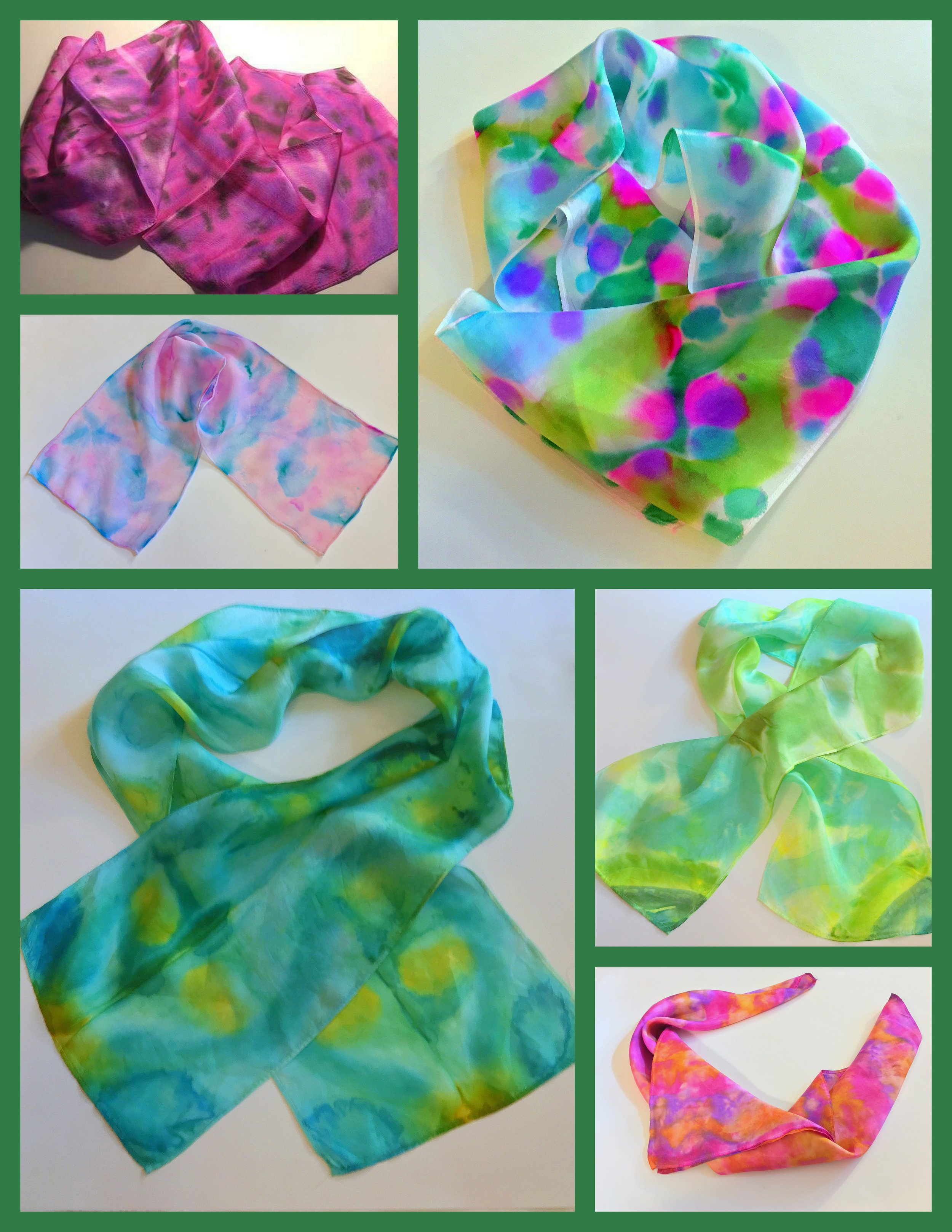 ALCOHOL INK PAINTED SCARVES Painted in Last Workshop