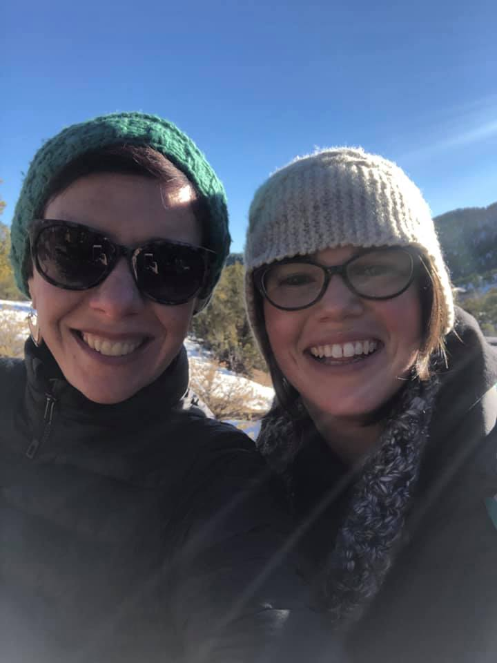 Whitney Kimball Coe, Coordinator of the Rural Assembly, exploring the Sangria De Cristo mountains in New Mexico with Madeline Moore of Rethinking Rural during January's Rural Voices for Conservation Annual Meeting. (Photo by Whitney Kimball Coe).
