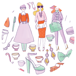 Kris Atomic's main website graphic. So cute! I love the teacups, ribbons, and macarons!