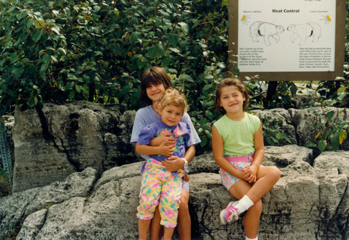 At the zoo in '92! I really like the palette of my outfit.  If you can't tell, I'm the little one with the blonde hair.  I'm sitting with my cousins Marie + Laura @ the Toronto Zoo near the bears (judging from the sign).