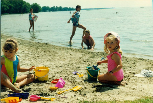 My friend Sarah + I at the beach in 1994.  Again the colours on my bathing suit are all sorts of awesome.