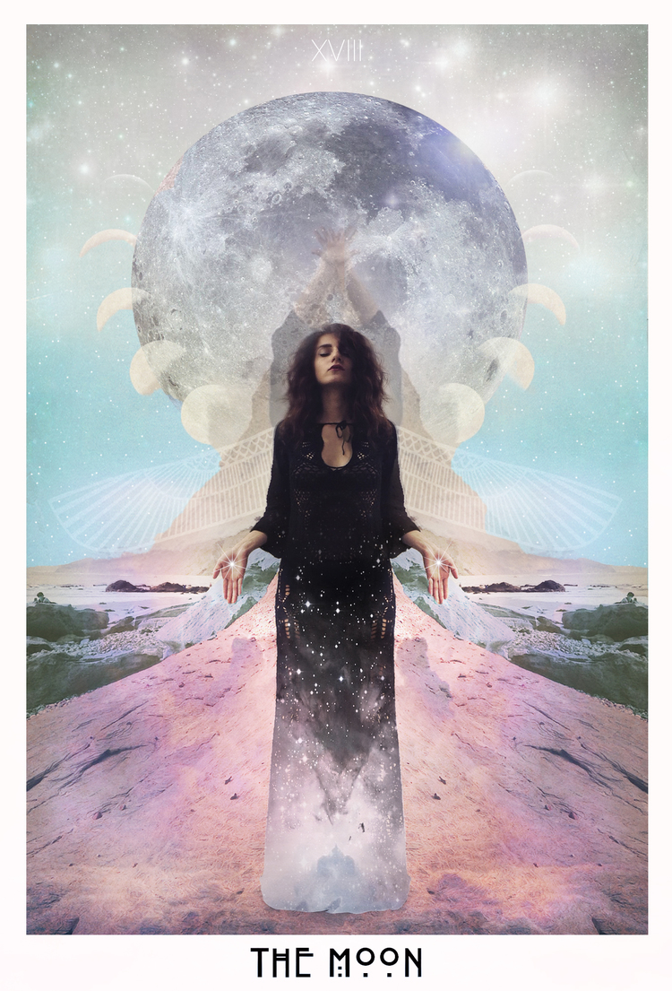 Beautiful moon card from   Starchild Tarot's   deck.
