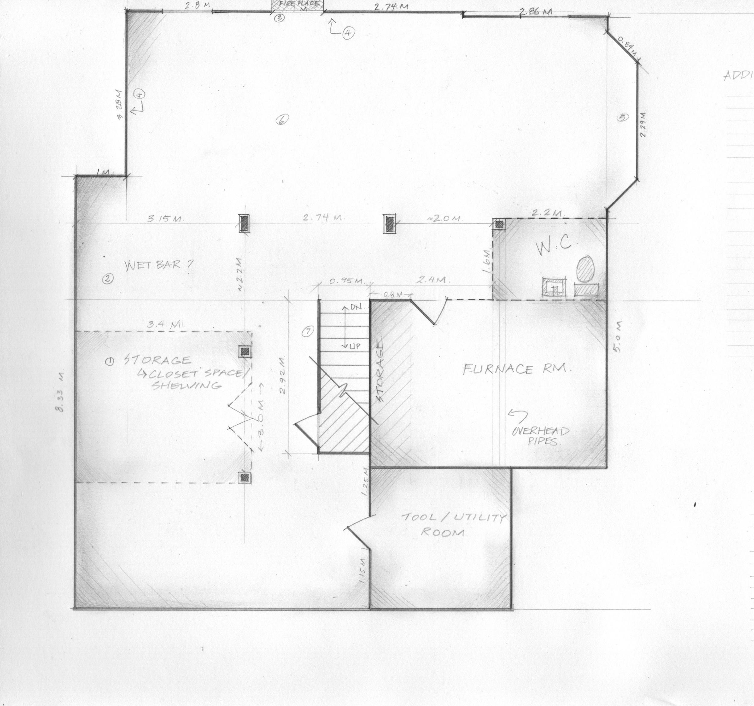 Existing basement floor plan