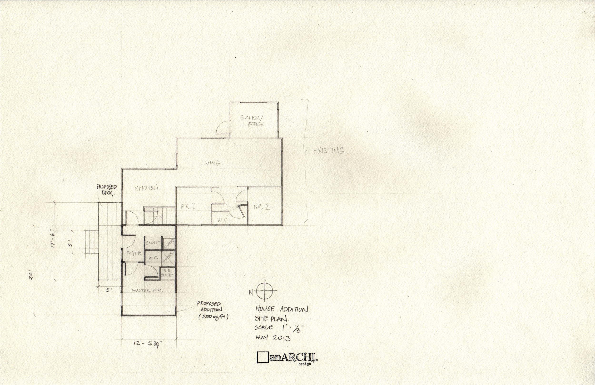 Plan of existing house with addition