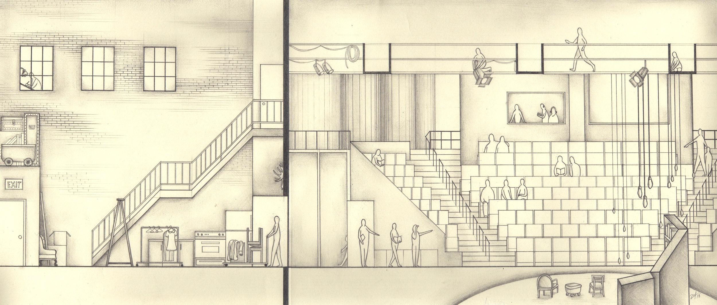 """Prairie Theatre Exchange"". Pencil on paper. 10""x20""."