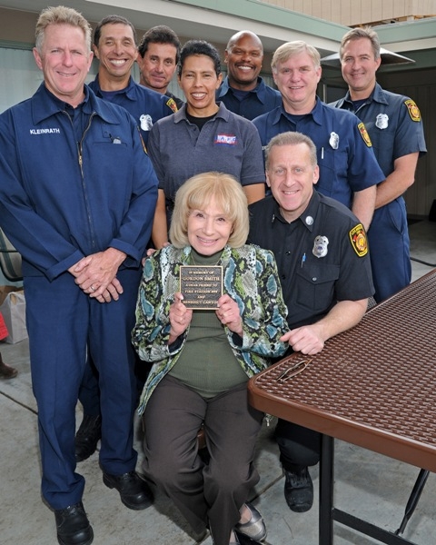 Benedict Canyon Association board members and residents honor the late  Gordon Smith by dedicating Fire Station 99's new picnic table in his  name.  Gordon was a tireless volunteer for the BCA and major supporter  of our local fire station.  His wife Diane was on hand to honor him.