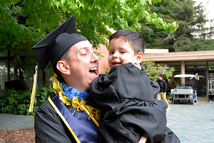 Graduation for student parents means gowns for Papa, Mama and Baby Bears (Berkeley News Center)