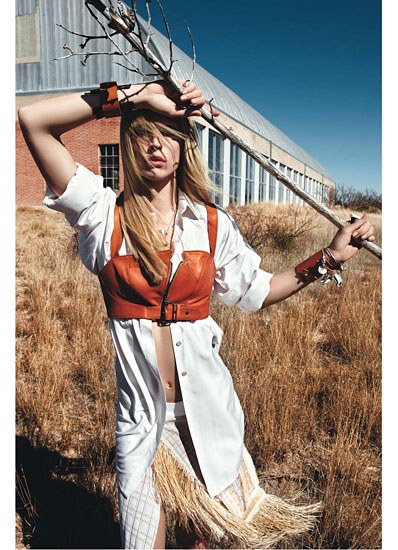 W MAGAZINE FEBRUARY 2010 RAQUEL ZIMMERMAN SHOT BY MARIO SORRENTI STYLED BY CAMILA NICKERSON - LEATHER CUFF BY A. JASON ROSS